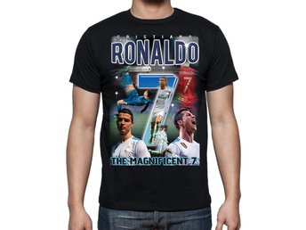164cl : Ronaldo svart t-shirt  - Real Madrid & Portugal spelare