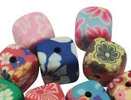 Polymer Clay Beads kuber - 10 st