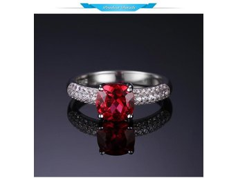 2.6ct Created Red Ruby Solitaire Engagement Ring 925 Sterling Silver Ring