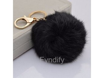 Nyckelring Rabbit Fur Ball Svart