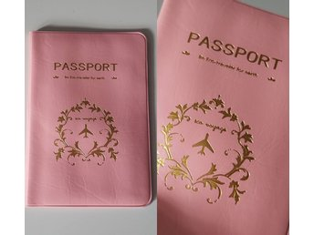 Rosa passfodral passportcover med text