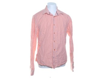 Riley, Buttondown-skjorta, Strl: L, Slim Fit, Vit/Orange