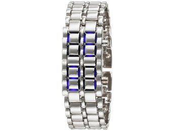 Iron ICE Samurai Cool Trendig Digital LED Klocka Armbandsur Silver/Krom Blå LED