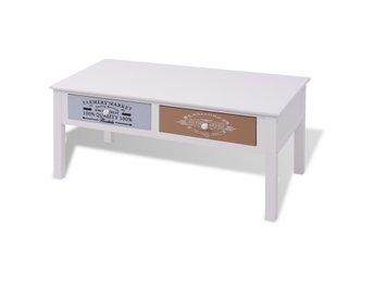 Soffbord Vintage : Unikt vintage shabby chic soffbord i massivt trä och vitmålat järn på