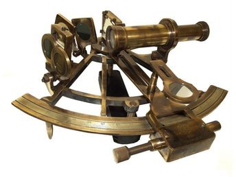 Stor 20 cm HENRI BARROW, London, Nautisk Mässing SEXTANT. Exakt.