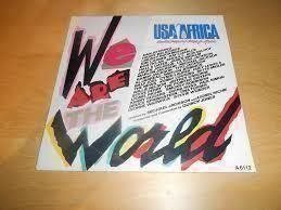 "Vinyl-singel USA for Africa ""We are the world"" Michael Jackson m.fl."