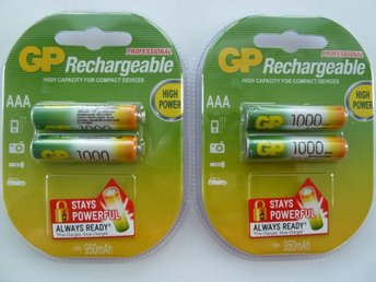 GP Rechargeable 1000 mAh AAA - Laddningsbara Batterier Ni-MH - 4 stycken