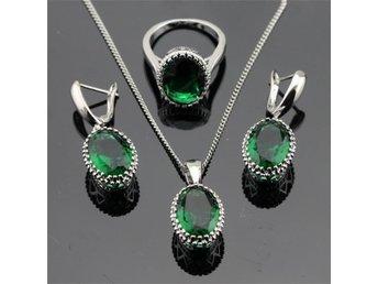 Oval Grön Emerald 925 sterling silver halsband hänge Örhängen ring 19 mm - Helsingborg - Oval Grön Emerald 925 sterling silver halsband hänge Örhängen ring 19 mm - Helsingborg