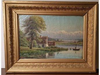Äldre oljemålning sign G.H. 94 George Hendrik .. (335424006) ᐈ Köp ... 3258bce7170c4