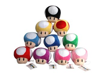 10st Mushrooms Super Mario Bros Plush Dolls Gosedjur Mjukisdjur Svampar