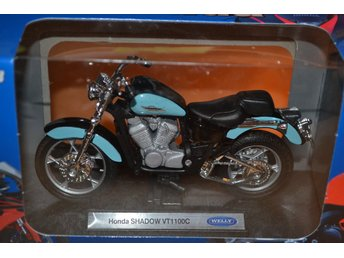 Honda Shadow VT1100C, Turkos/Svart 1:18 Welly (Motorcykel) Ny