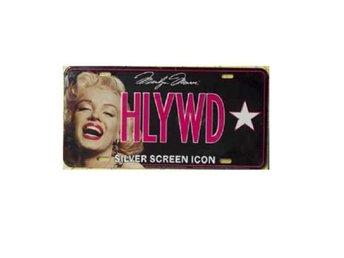 Marilyn Monroe Licens Plate Silver Screen Icon Nummerskylt.