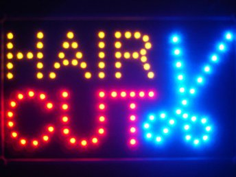EXKLUSIV HAIR CUT LED NEON SKYLT - DISPLAY/REKLAM/DEKORATION/TAVLA/BELYSNING