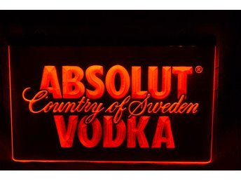 Absolut Vodka Röd LED Reklamskylt Skylt Logo Ny