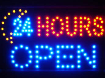 EXKLUSIV 24 HOURS OPEN LED NEON SKYLT - DISPLAY/DEKORATION/TAVLA/BELYSNING