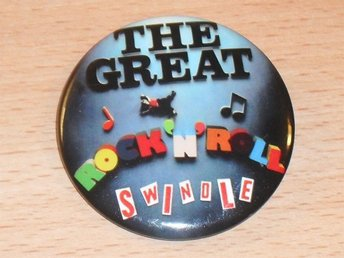 SEX PISTOLS - R&R Swindle - STOR Badge / Pin / Knapp (Punk, Chaos, Rotten, Sid,)