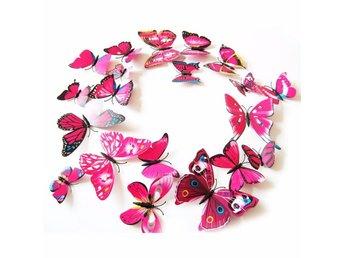 12 st 3D Fjärilar - Väggdekor - Rose Red - Nasugbu - 12 st 3D Fjärilar - Väggdekor - Rose Red - Nasugbu