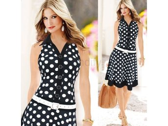 Klänning Fashion Polka Dot Sleeveless Black / XXL