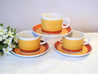 Stina Gefle 3 Kaffekoppar Koppar Fat Gul Orange Helmer Ringström Retro