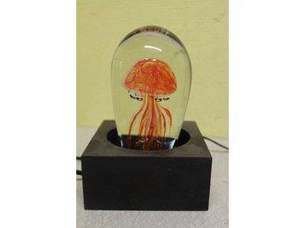 Bordslampa glasblock H20cm funkar fint hel o fin