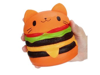 Decompression Toy, Squishy Jumbo Cartoon Cat Hamburger Scented Toy