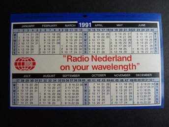 Radio Nederland on your wavelength Kalender Calendar 1991 Holland samlarprylar