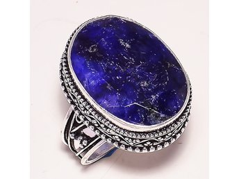 "Ring Fasetterad Blå Safir Oval Gemstone Vintage Style Silver Ring ""9.25 - ödeshög - Ring Fasetterad Blå Safir Oval Gemstone Vintage Style Silver Ring ""9.25 - ödeshög"