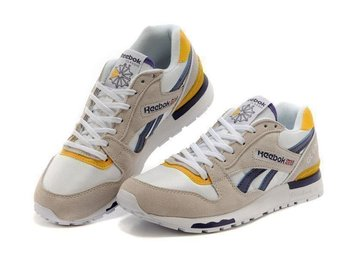 Reebok GL6000 strl 43 skor för man Gray with white yellow navy
