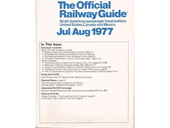 USA, Canada and Mexico, The Official Railway Guide, Jul/Aug 1977.