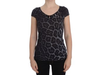 Cavalli - Gray Leopard Modal T-Shirt Blouse Top