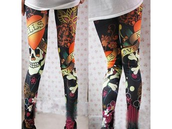 Leggings Tights Look Tattoo Svart Elastisk Rock Punk Goth S 36 34