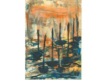 Akvarell, akryl Queen, Nio seglande båtar, orginalmålning - Strömstad - Akvarell, akryl Queen, Nio seglande båtar, orginalmålning - Strömstad