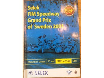 Speedway VM final Stockholm Stadion 2001 Program i nyskick
