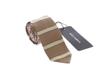 Dolce & Gabbana - Brown Silk Pattern Slim Neck Tie