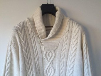 GANT Shawl Collar Cable Knit Sweater i Alpacka & Ullblandning, stl L