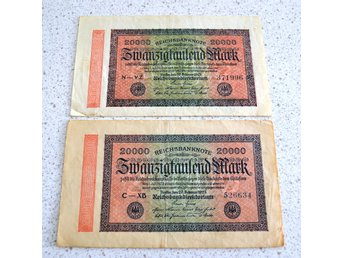 2 st Reichsbanknote 20000 Mark