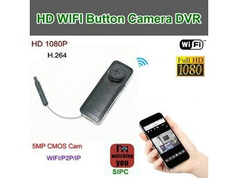 WIFI-knappkamera, 1080p / 25fps, 5.0MP kamera / H.264, P2P / IP-funktion, App