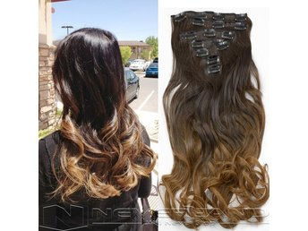 1Set Ombre Hair Extension 22inch 7pcs/set Real Natural Hairpieces, nytt