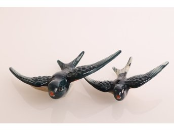 retro svalor svala fåglar väggdekoration Porslin Swallow wall ornament 40-70-tal