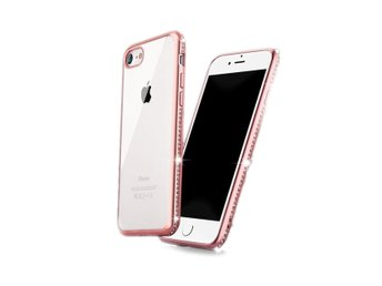 iPhone 7 8 Mobilskal Rosa Roseguld Diamanter Bling