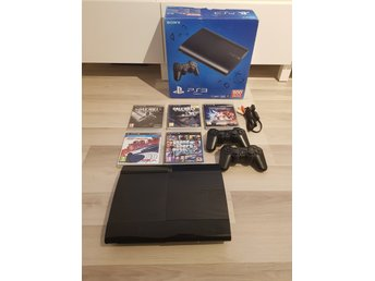 PS3 Playstation 3 Slim 500GB inkl 2 handkontroller & 5 spel