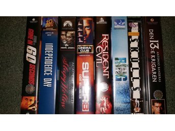 8 VHS  GONE IN 60 SECONDS INDEPENCE DAY SLEEPY HOLLOW SUPER 8 RESIDENT EVIL THE