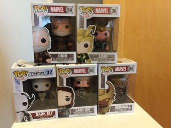 Funko Marvel Pop Thor Loki Odin Sif Heimdall Darl Elf Bobble head figurer