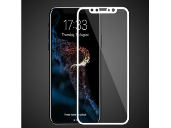 iPhone X - Skärmskydd av Härdat Glas/Full Tempered Screen Protector - Vit
