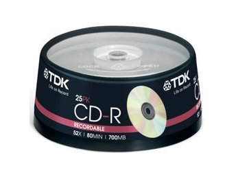 TDK CD-R 52x 80min 25-pack cake