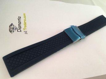 22 mm -- NYTT -- blått gummiband -- blue rubber strap -- blå clasp - Boliden - 22 mm -- NYTT -- blått gummiband -- blue rubber strap -- blå clasp - Boliden