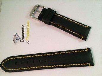 22 mm -- NYTT -- klockarmband i äkta läder -- Gula sömmar -- svart/ gul armband - Boliden - 22 mm -- NYTT -- klockarmband i äkta läder -- Gula sömmar -- svart/ gul armband - Boliden