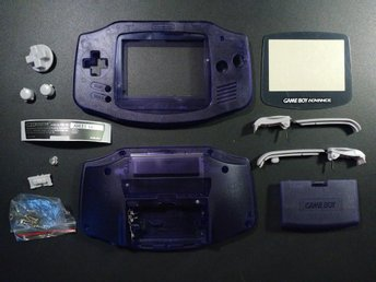Skal Crystal-Purple med knappar + skärmskydd till GameBoy Advance Game Boy