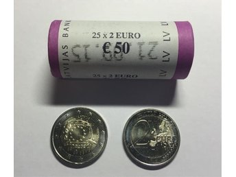 "Latvia, 2 Euro 2015 ""30 Years of the EU Flag"" in bank roll"