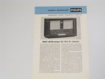 Philips radio reklamblad BX740A